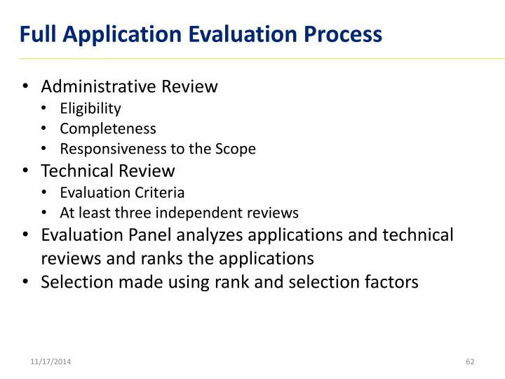 Full Application Evaluation Process