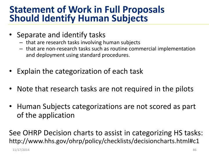 Statement of Work in Full Proposals Should Identify Human Subjects
