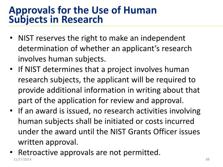 Approvals for the Use of Human Subjects in Research