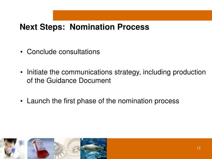Next Steps:  Nomination Process