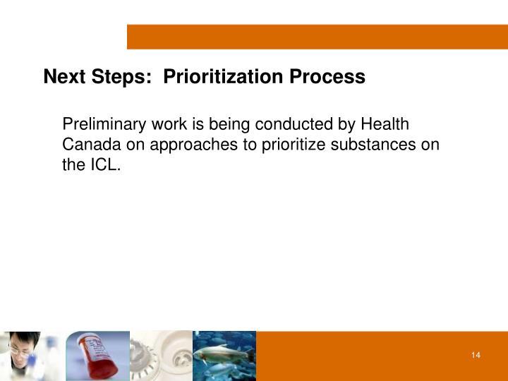 Next Steps:  Prioritization Process