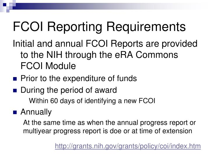 FCOI Reporting Requirements