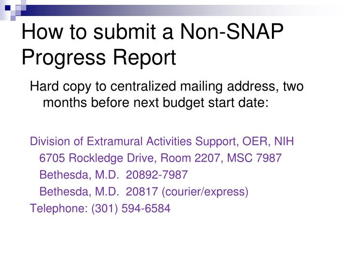 How to submit a Non-SNAP Progress Report