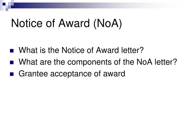 Notice of award noa