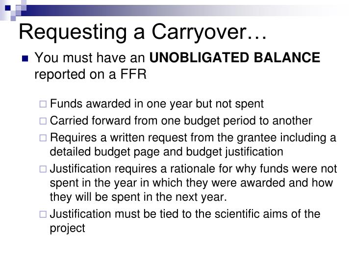 Requesting a Carryover…