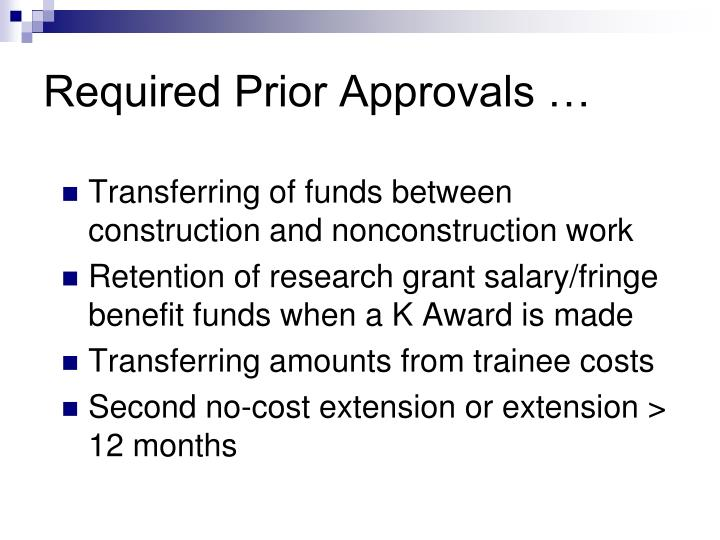 Required Prior Approvals …