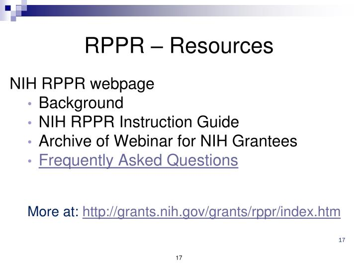 RPPR – Resources
