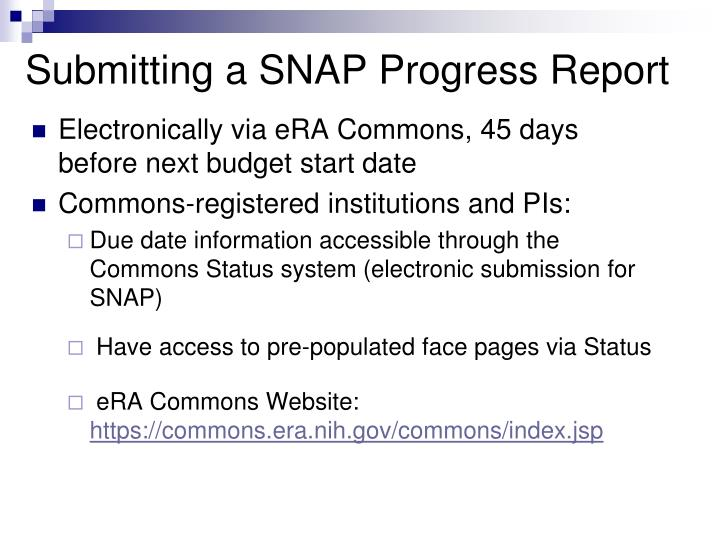 Submitting a SNAP Progress Report