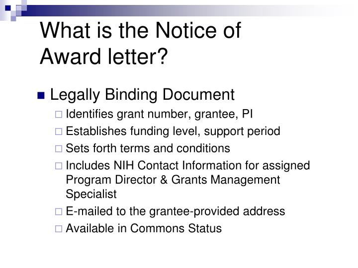 What is the Notice of Award letter?
