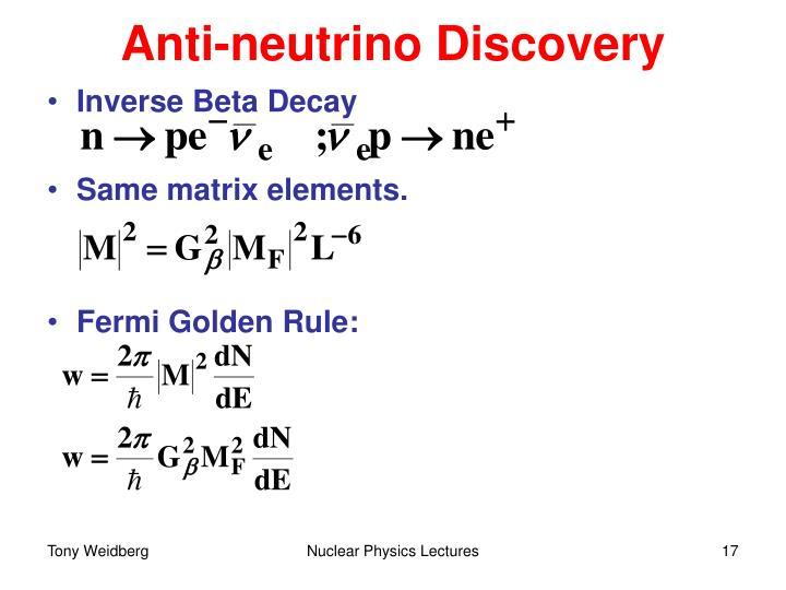 Anti-neutrino Discovery