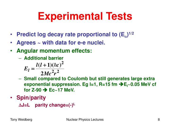 Experimental Tests