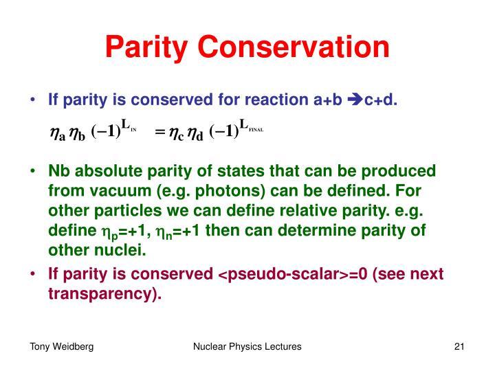 Parity Conservation
