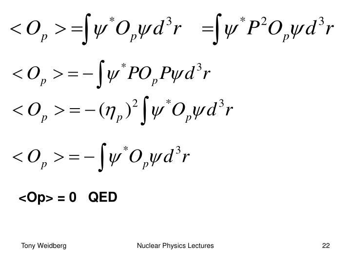 <Op> = 0   QED