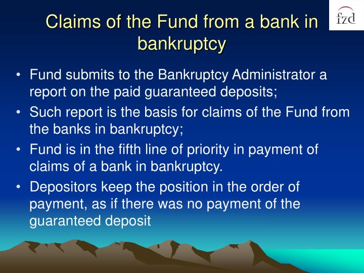 Claims of the Fund from a bank in bankruptcy