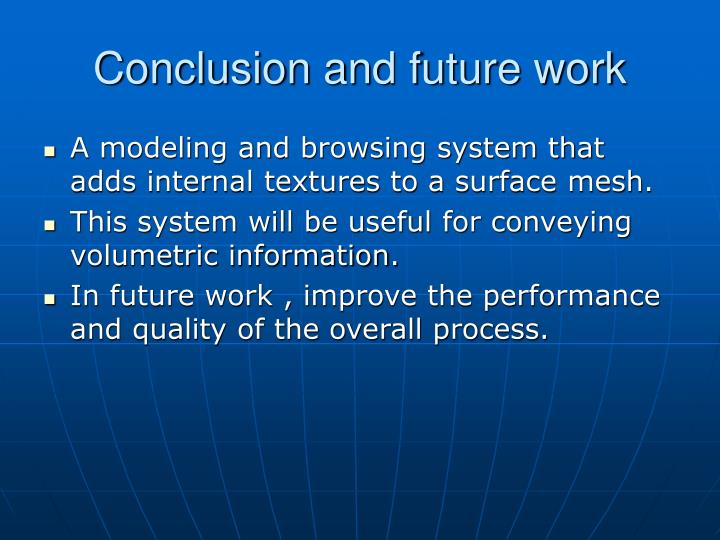 Conclusion and future work