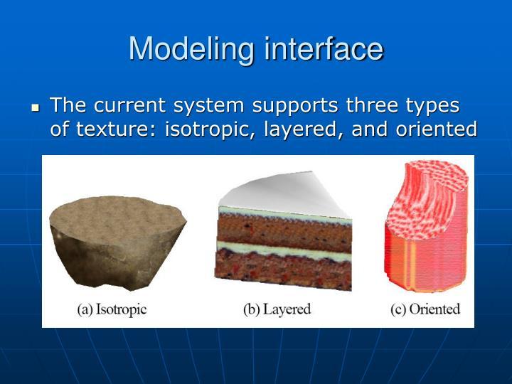 Modeling interface