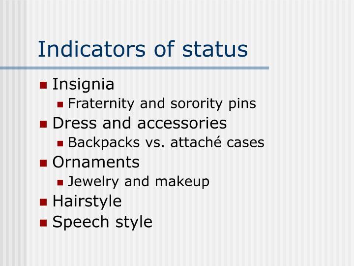 Indicators of status