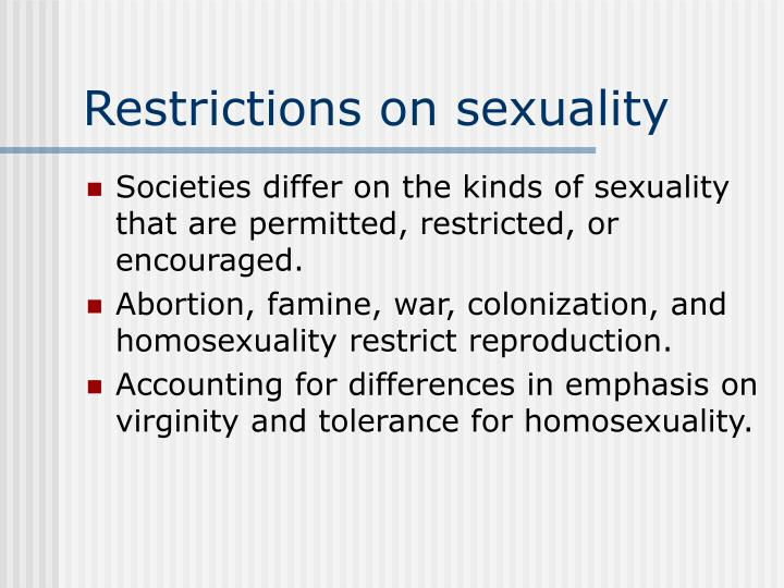 Restrictions on sexuality