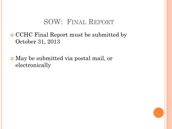 SOW:  Final Report