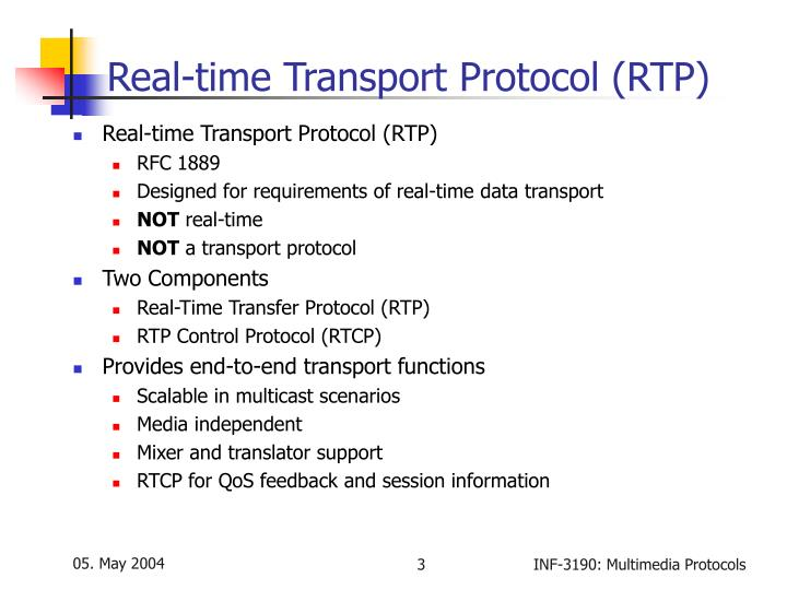 Real time transport protocol rtp