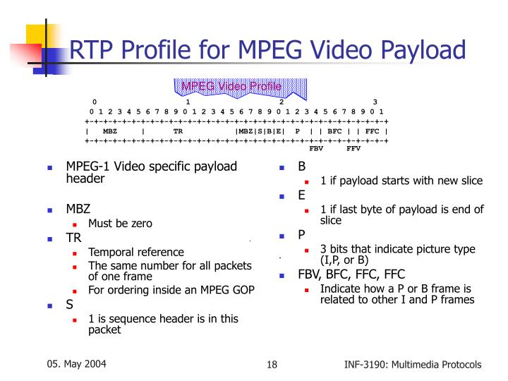 MPEG-1 Video specific payload header