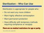 sterilization who can use