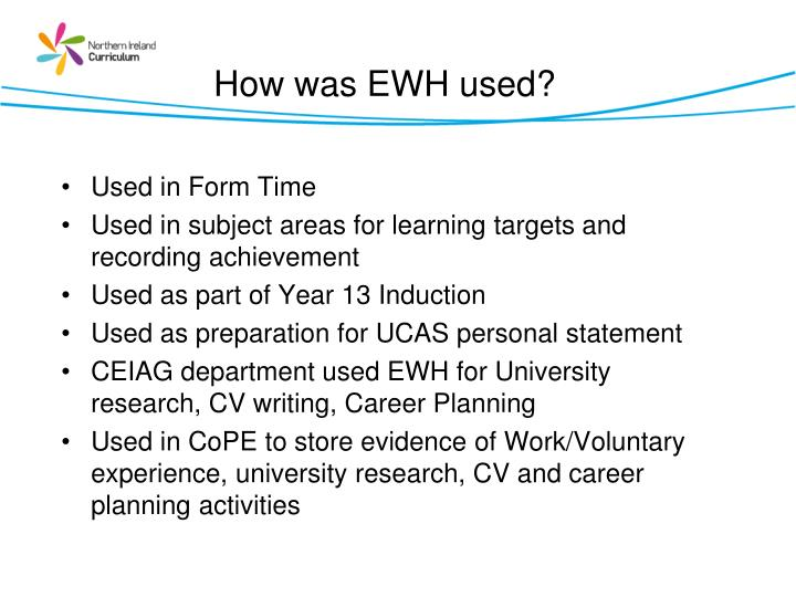 How was EWH used?