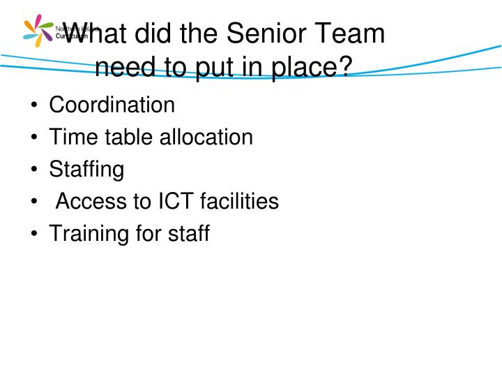 What did the Senior Team need to put in place?