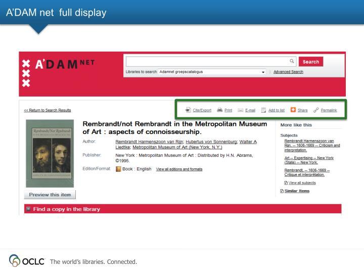 A'DAM net  full display