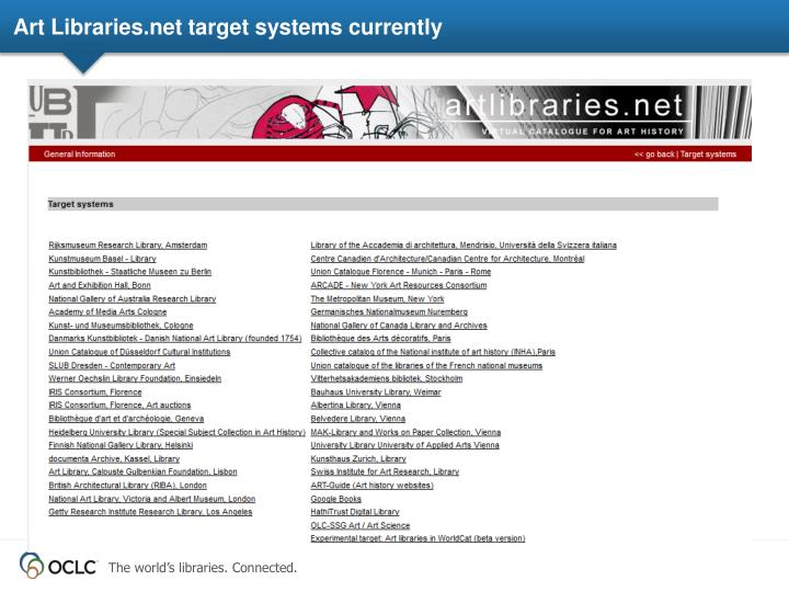 Art Libraries.net target systems currently