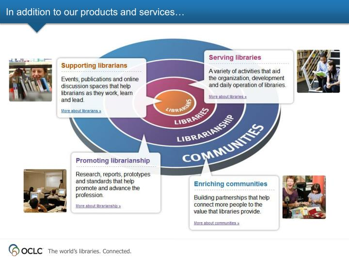 In addition to our products and services…