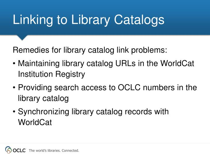 Linking to Library Catalogs