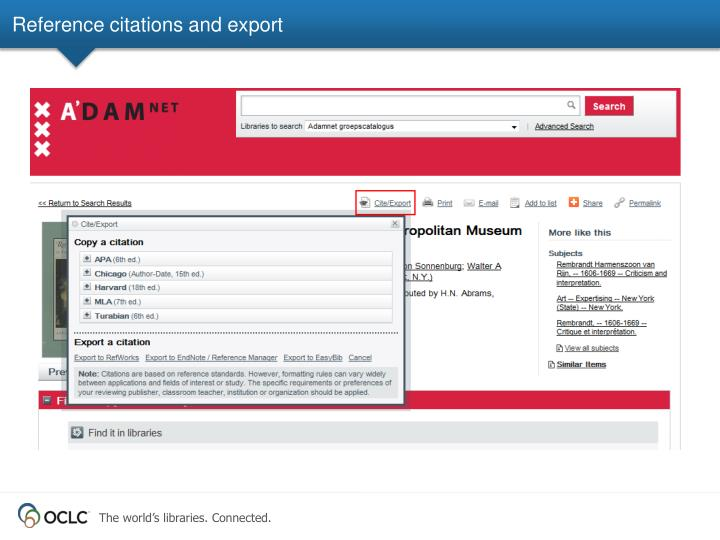 Reference citations and export