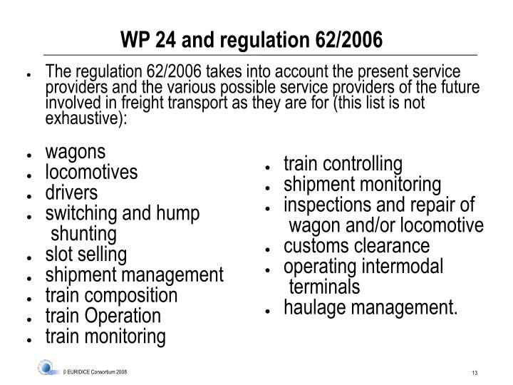 WP 24 and regulation 62/2006