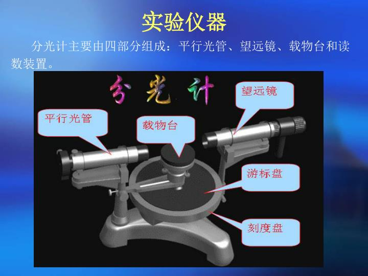 分光计主要由四部分组成:平行光管、望远镜、载物台和读