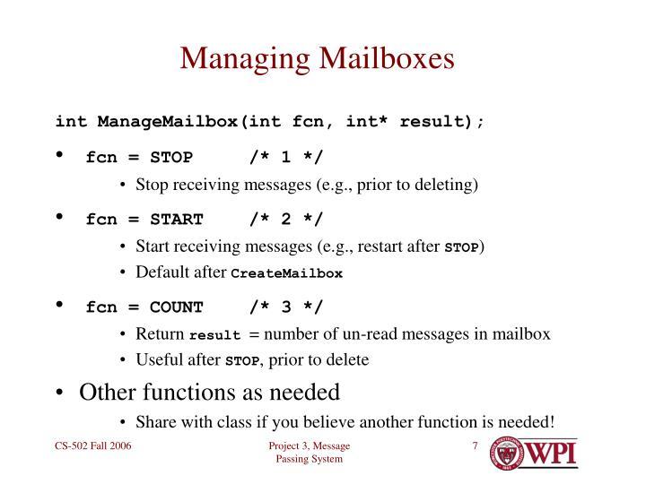 Managing Mailboxes
