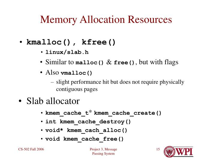 Memory Allocation Resources