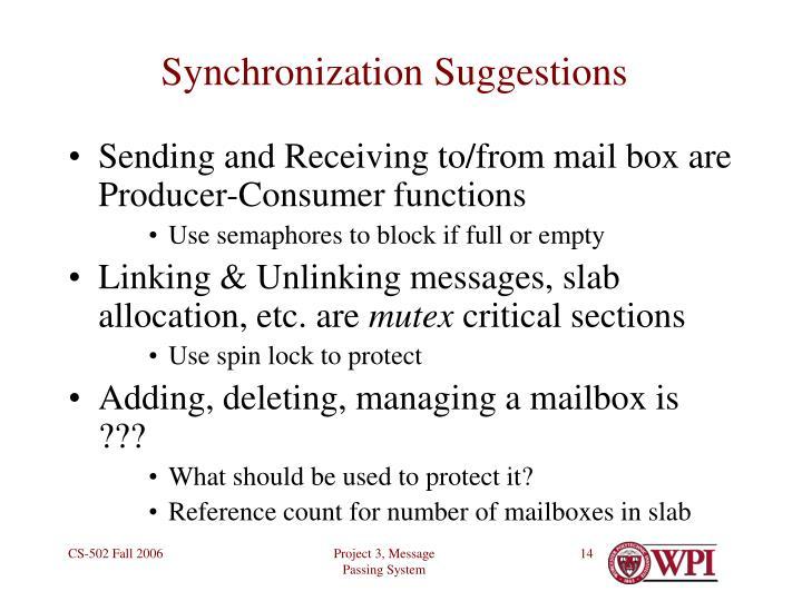 Synchronization Suggestions