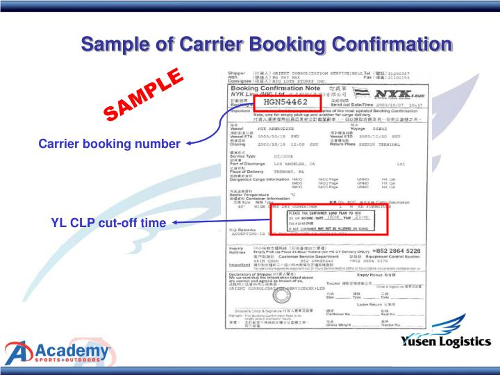 Sample of Carrier Booking Confirmation