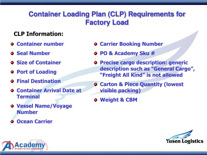 Container Loading Plan (CLP) Requirements for Factory Load
