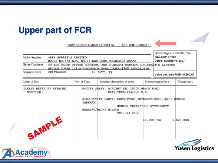 Upper part of FCR