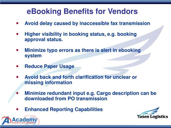 eBooking Benefits for Vendors