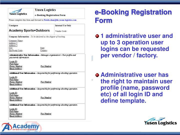 e-Booking Registration