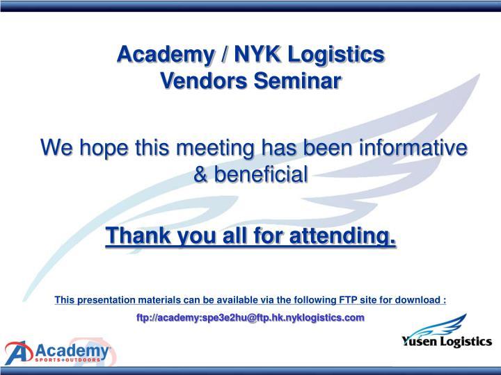 Academy / NYK Logistics