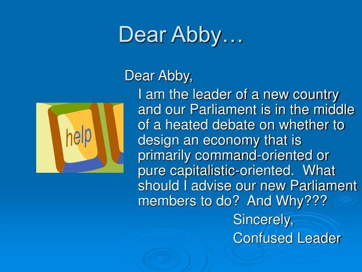 Dear Abby…