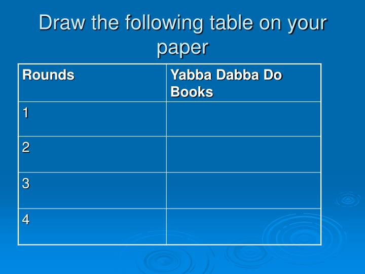 Draw the following table on your paper