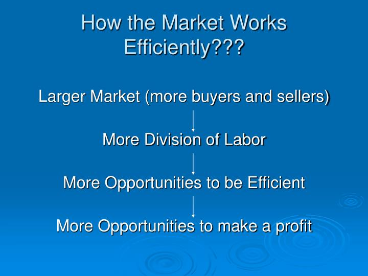 How the Market Works Efficiently???