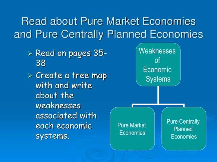 Read about Pure Market Economies and Pure Centrally Planned Economies