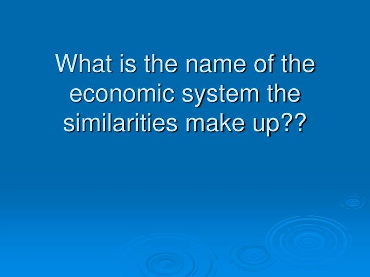 What is the name of the economic system the similarities make up??
