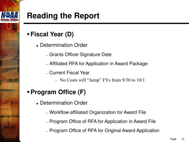 Reading the Report